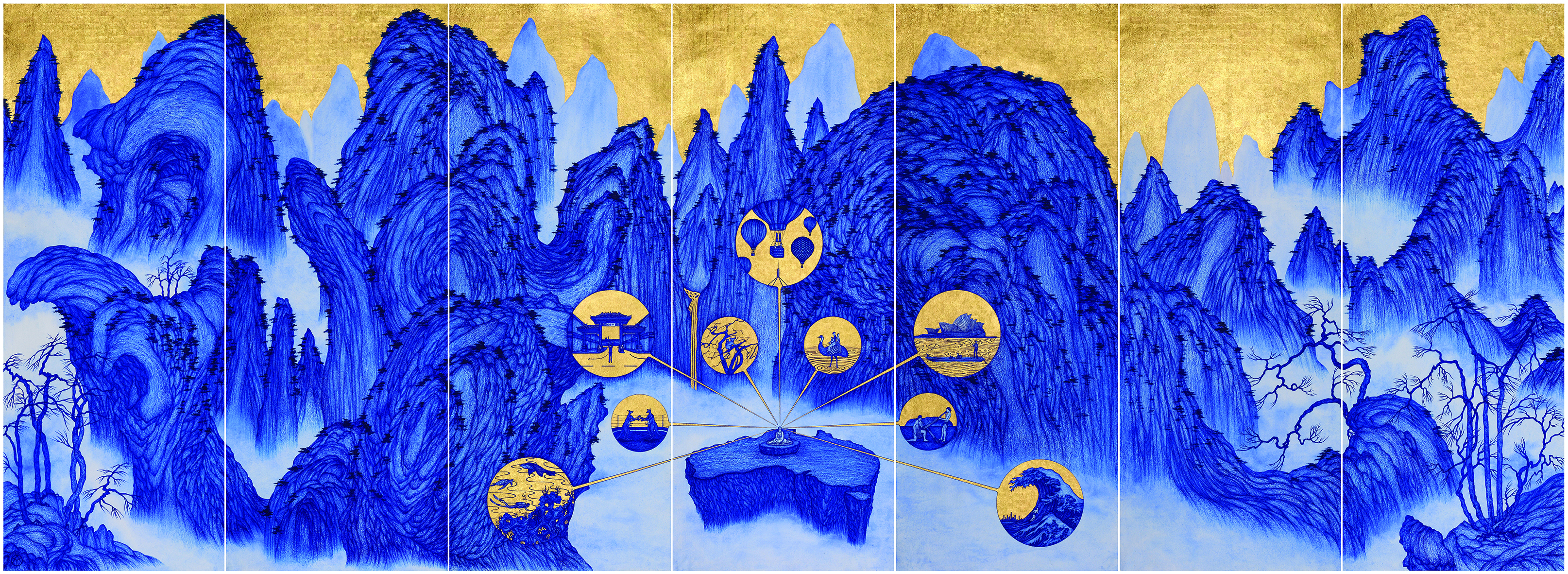 Yao's Journey to Australia, 2015, biro, blue ink with gold leaf on India handmade paper, 195 x 539 cm.