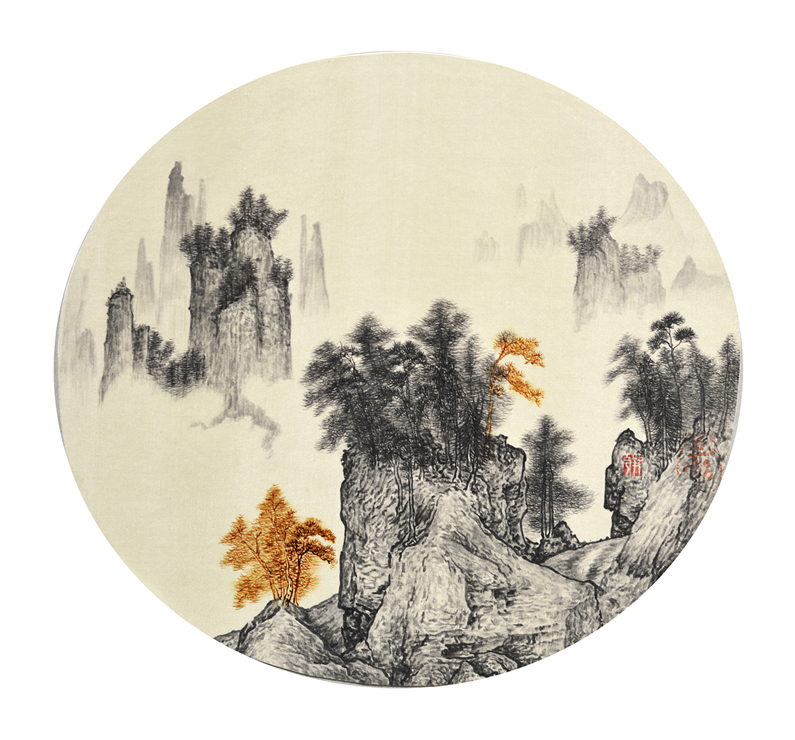 Cola Project – Antique series Circular Fan II, 2009-2010, ink and Coca-Cola on silk, 28 x 30 cm