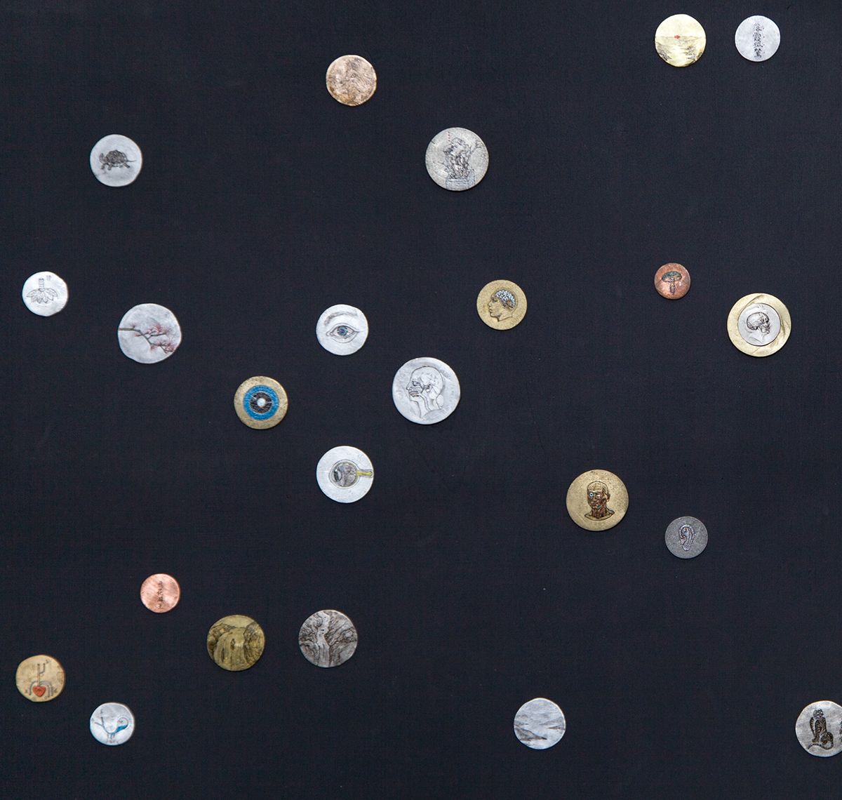 Galaxy, 2012-2015, painted coins, size variable x 80 (approx.) [detail]