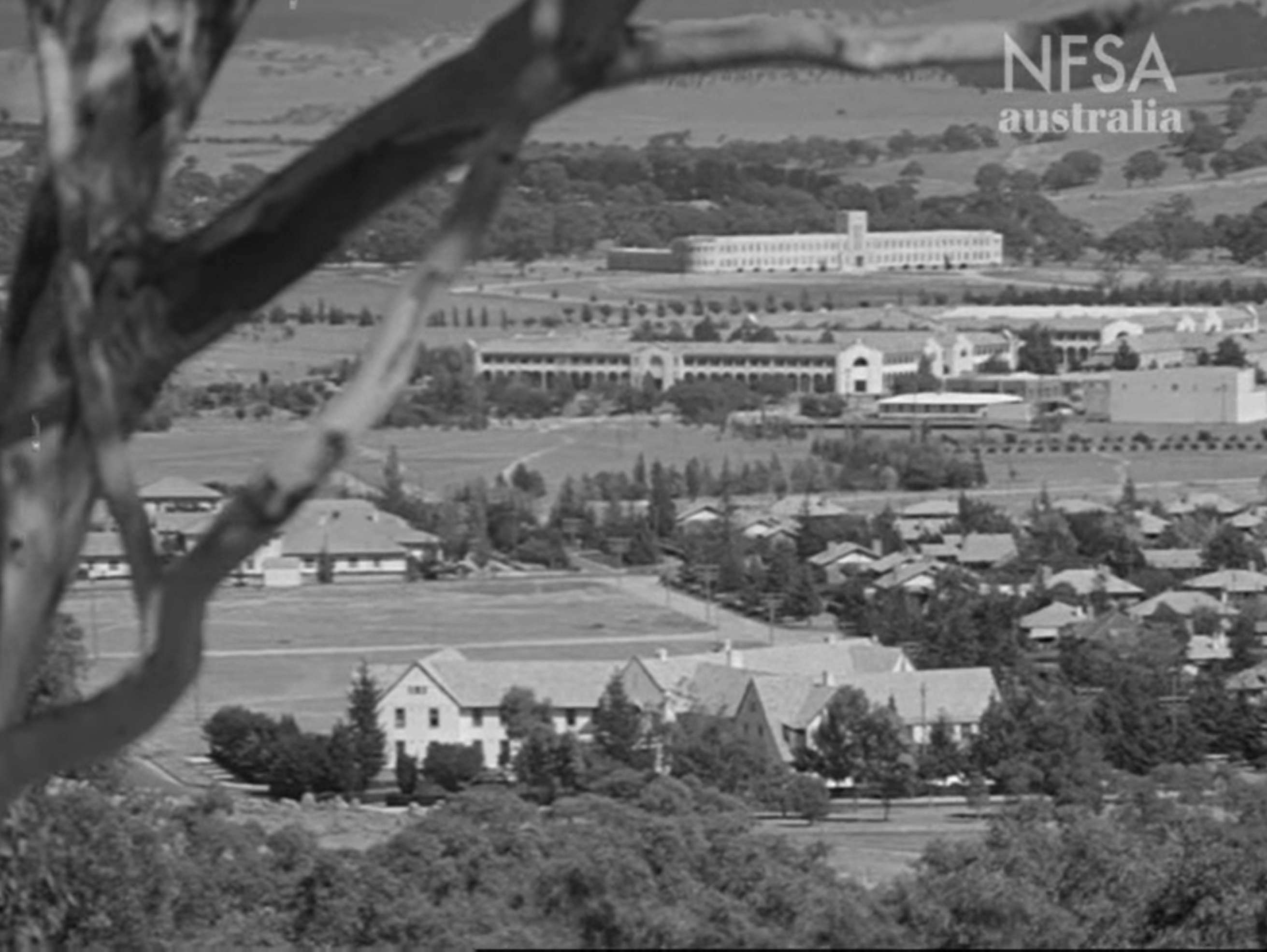 'Canberra is more than a group of government buildings set in a Garden City, it's a community of 12,000 people… Most Canberra people know each other, at least by sight, and share a casual friendliness that is part of the Australian Character.' Still from National Capital c1945. Courtesy National Film and Sound Archive.